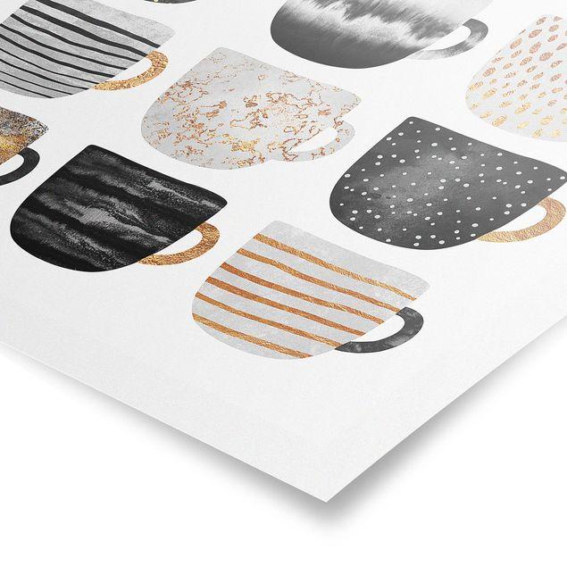 Poster - Goldene Tassen Schwarz Weiß - Hochformat 4:3