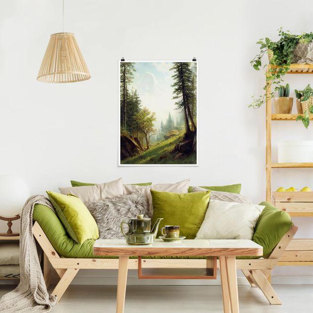 Poster - Albert Bierstadt - In den Berner Alpen - Hochformat 3:4