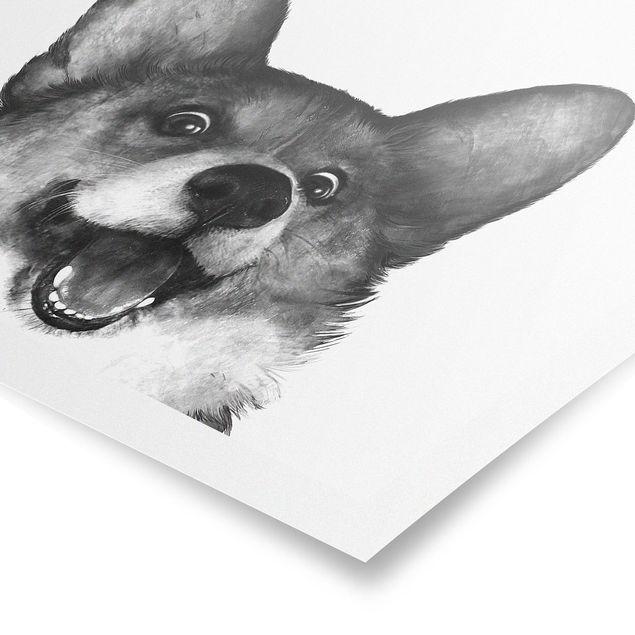 Poster - Illustration Hund Corgi Weiß Schwarz Malerei - Querformat 3:4