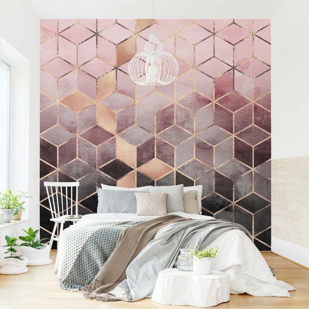 Fototapete - Rosa Grau goldene Geometrie - Fototapete Quadrat