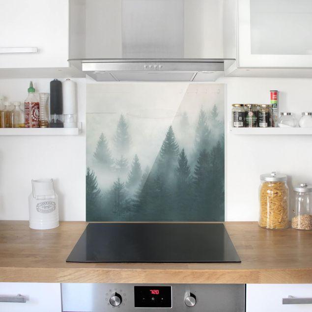 Glas Spritzschutz - Nadelwald im Nebel - Quadrat - 1:1