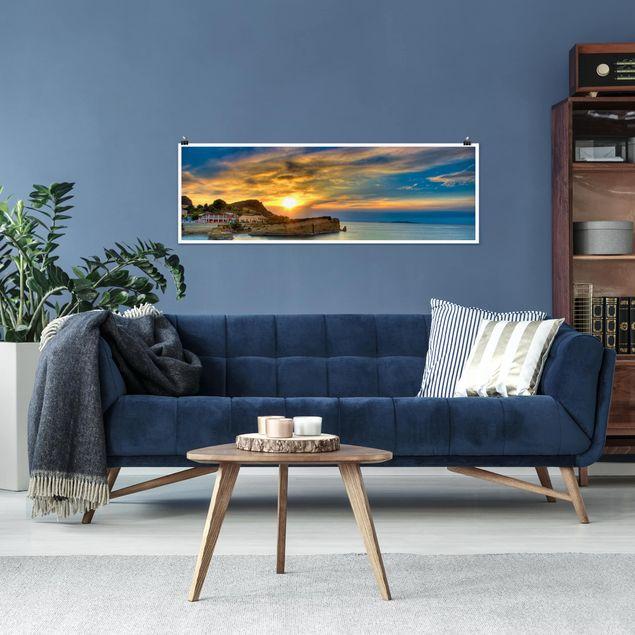 Poster - Sonnenuntergang über Korfu - Panorama Querformat