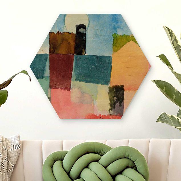 Hexagon Bild Holz - Paul Klee - Mondaufgang
