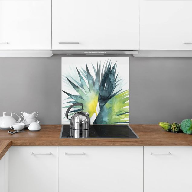 Glas Spritzschutz - Tropisches Blattwerk - Fächerpalme - Quadrat - 1:1