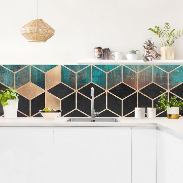 Küchenrückwand - Türkis Rosé goldene Geometrie