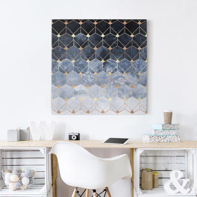 Leinwandbild - Blaue Geometrie goldenes Art Deco - Quadrat 1:1