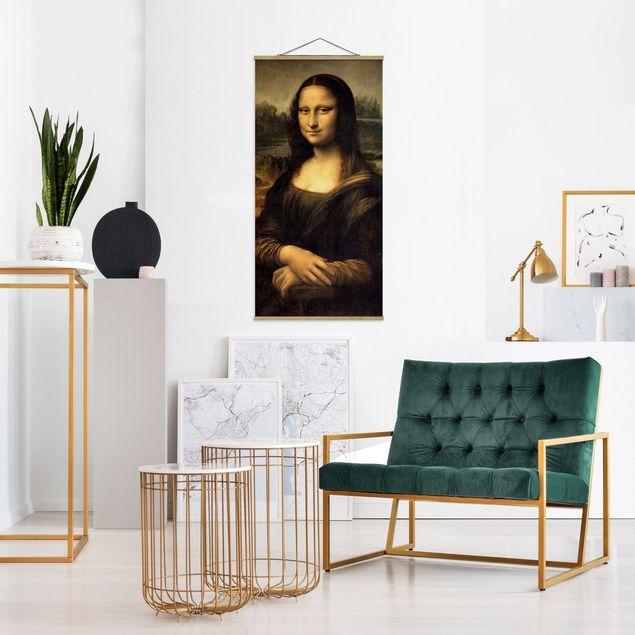 Stoffbild mit Posterleisten - Leonardo da Vinci - Mona Lisa - Hochformat 1:2