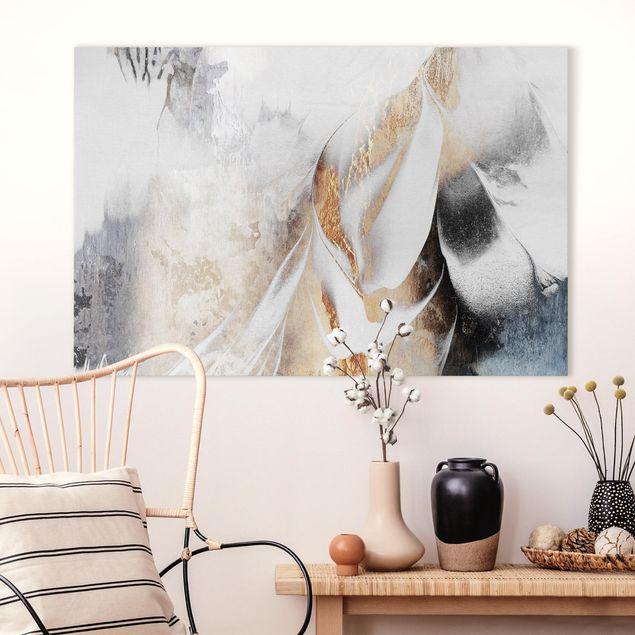 Leinwandbild - Goldene abstrakte Wintermalerei - Querformat 2:3