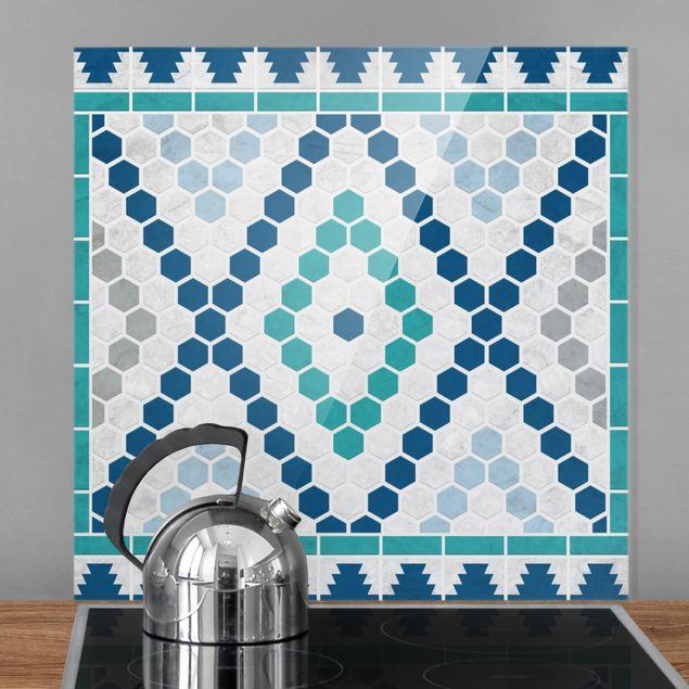 Glas Spritzschutz - Marokkanisches Fliesenmuster Türkis Blau - Quadrat - 1:1