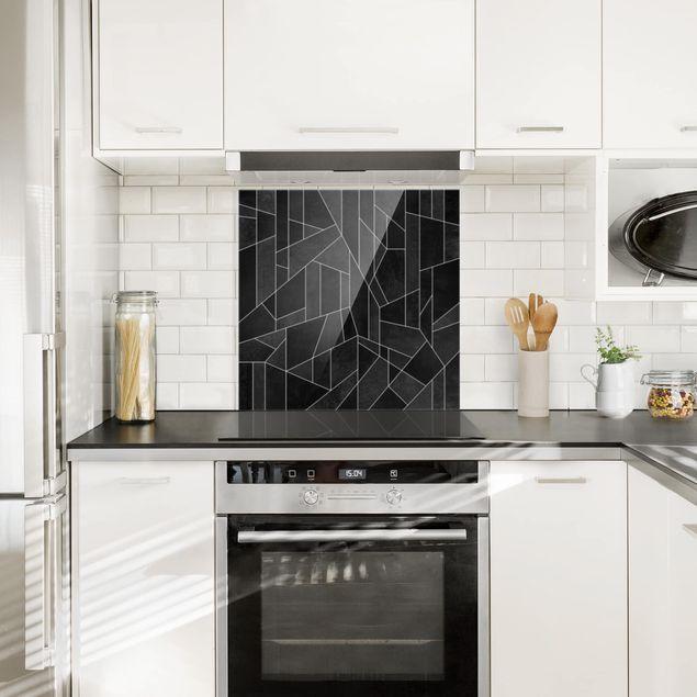 Spritzschutz Glas - Schwarz Weiß Geometrie Aquarell - Quadrat 1:1