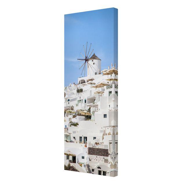 Leinwandbild - Weißes Griechenland - Panorama Hochformat 1:3
