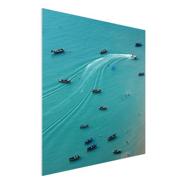 Forex Fine Art Print - Ankernde Fischerboote - Quadrat 1:1