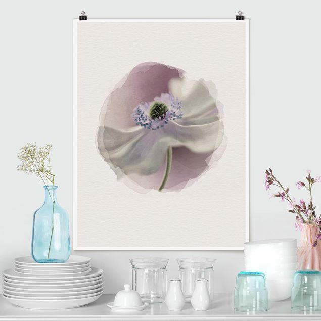 Poster - Wasserfarben - Anemonenbrise - Hochformat 4:3