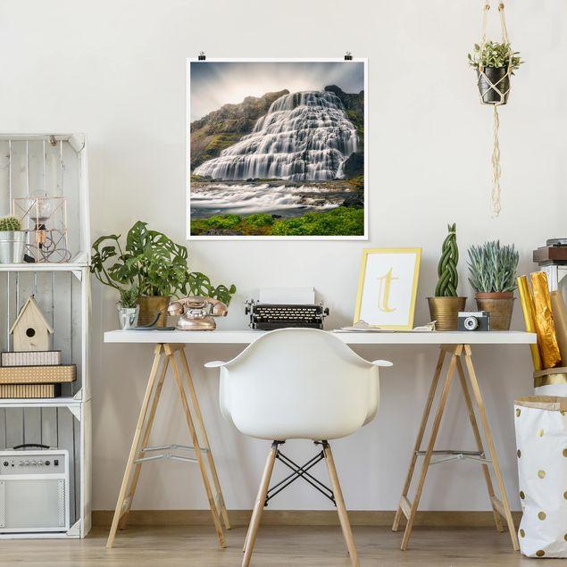 Poster - Dynjandi Wasserfall - Quadrat 1:1