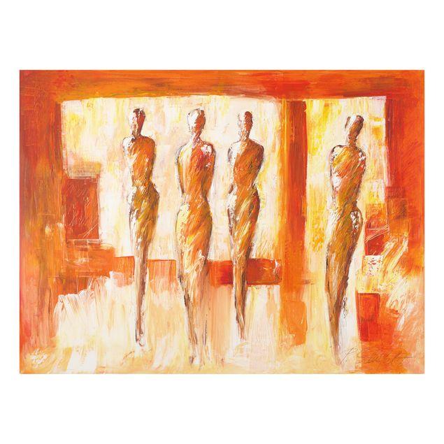 Glas Spritzschutz - Vier Figuren in Orange - Querformat - 4:3