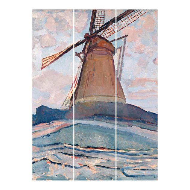 Schiebegardinen Set - Piet Mondrian - Windmühle - 3 Flächenvorhänge