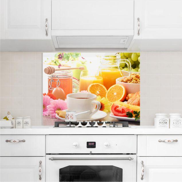 Glas Spritzschutz - Sommerlicher Frühstückstisch - Querformat - 4:3