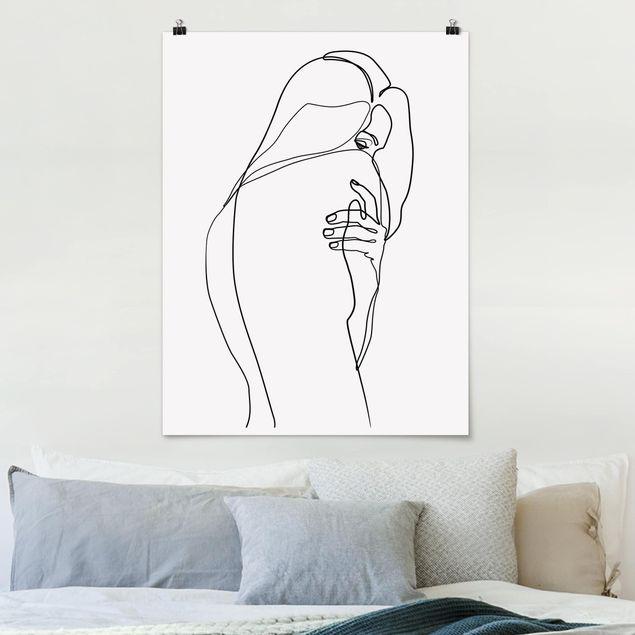Poster - Line Art Frauenakt Schulter Schwarz Weiß - Hochformat 4:3