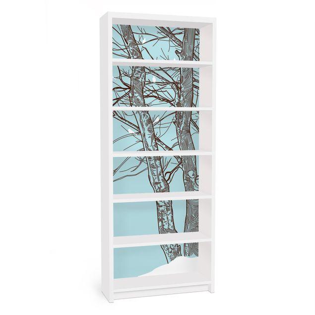 Möbelfolie für IKEA Billy Regal - Klebefolie Winterbäume
