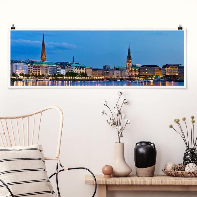 Poster - Hamburg Skyline - Panorama Querformat