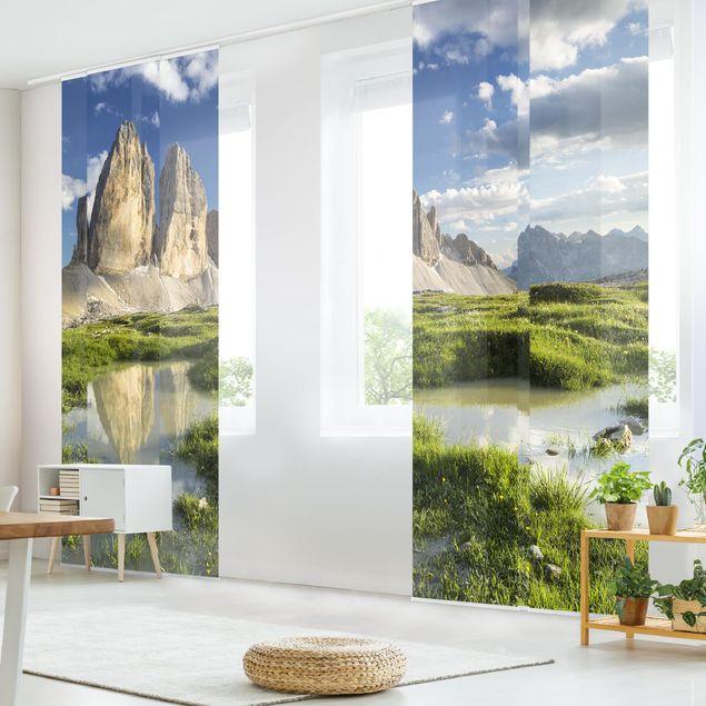 Schiebegardinen Set - Südtiroler Zinnen und Wasserspiegelung - Flächenvorhänge