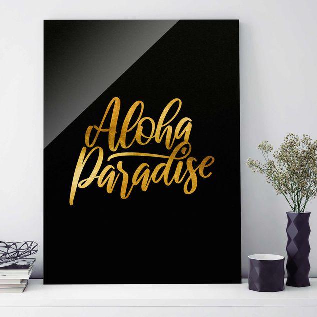 Glasbild - Gold - Aloha Paradise auf Schwarz - Hochformat 4:3