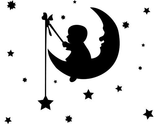 Wandtattoo Sterne Mond Babyzimmer No.CG127 Little Man on the Moon
