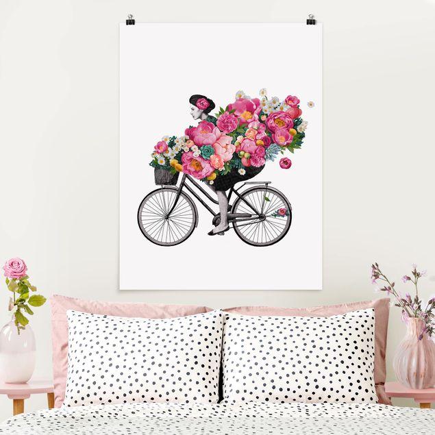 Poster - Illustration Frau auf Fahrrad Collage bunte Blumen - Hochformat 4:3