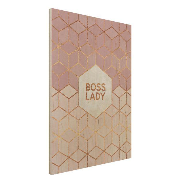 Holzbild - Boss Lady Sechsecke Rosa - Hochformat 4:3