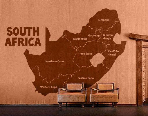 Wandtattoo No.TA68 Regionen Südafrikas
