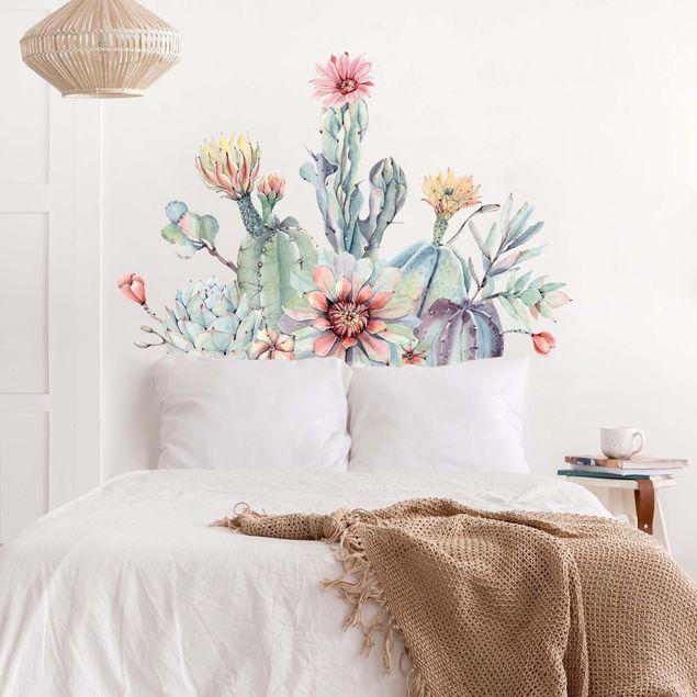 Wandtattoo - Aquarell Kaktus Blüte Bouquet XXL