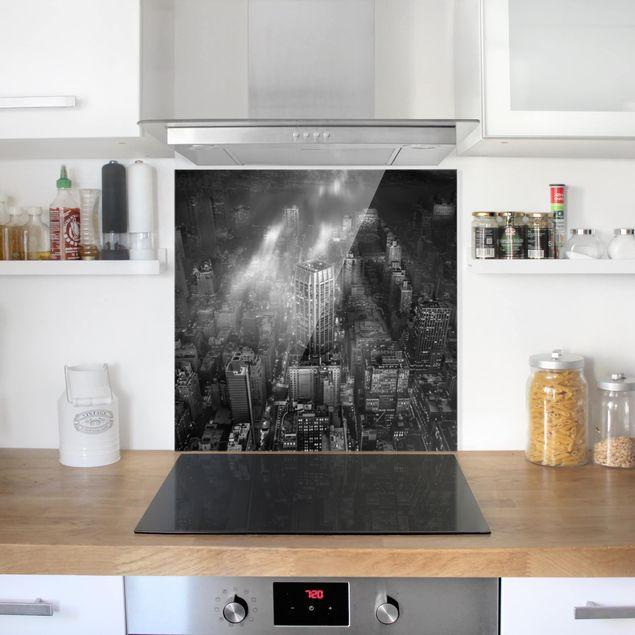 Glas Spritzschutz - Sonnenlicht über New York City - Quadrat - 1:1