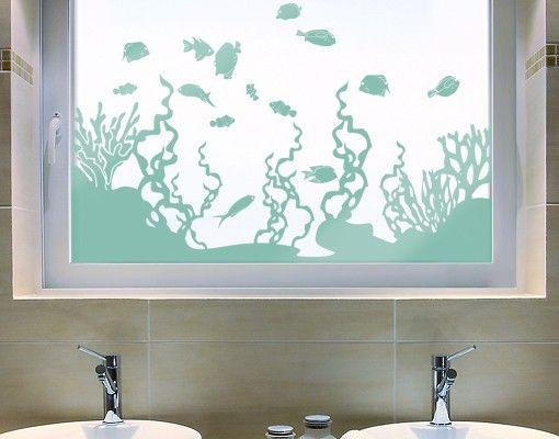 Fensterfolie - Fenstertattoo No.IS45 Korallenriff - Milchglasfolie