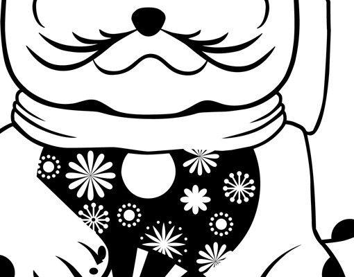 Wandtattoo Katze No.NR2 Glückskatze Blume