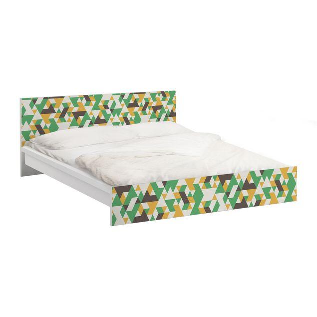 Möbelfolie für IKEA Malm Bett niedrig 180x200cm - Klebefolie No.RY34 Green Triangles