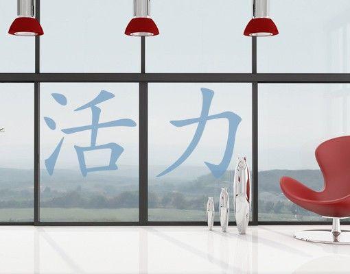 """Fensterfolie - Fenstertattoo No.40 Chinesische Zeichen """"Lebensenergie"""" - Milchglasfolie"""