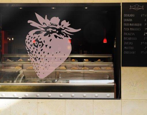 Fensterfolie - Fenstertattoo No.EG26 Erdbeere - Milchglasfolie
