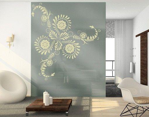 Fensterfolie - Fenstertattoo No.790 Florales Ornament - Milchglasfolie