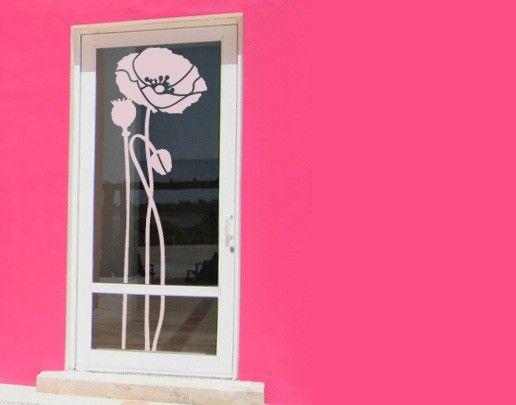 Fensterfolie - Fenstertattoo No.UL83 Mohn Triple - Milchglasfolie