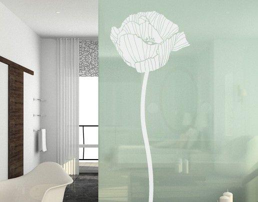 Fensterfolie - Fenstertattoo No.UL84 Mohnblume 1 - Milchglasfolie