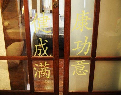 """Fensterfolie - Fenstertattoo No.145 Chinesische Zeichen """"3 Wünsche"""" - Milchglasfolie"""