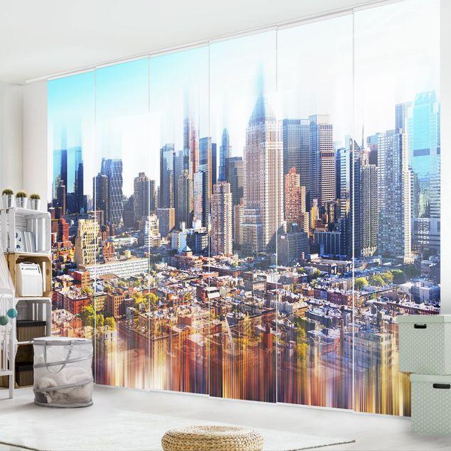 Schiebegardinen Set - Manhattan Skyline Urban Stretch - Flächenvorhänge
