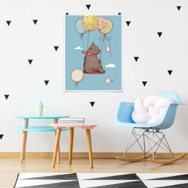 Poster - Bär und Maus fliegen - Hochformat 3:4