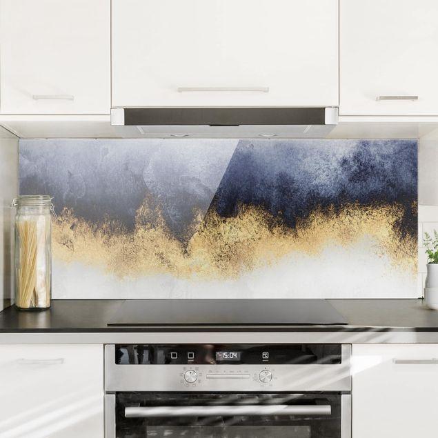 Spritzschutz Glas - Wolkenhimmel mit Gold - Panorama