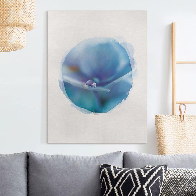 Leinwandbild - Wasserfarben - Wassertropfen Hortensienblüte - Hochformat 4:3