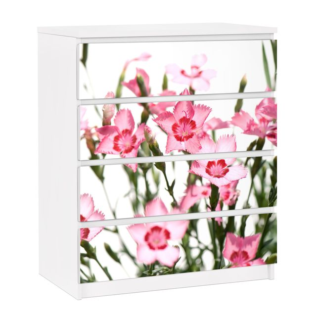 Möbelfolie für IKEA Malm Kommode - selbstklebende Folie Pink Flowers
