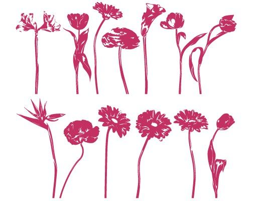Wandtattoo Gerbera Tulpe No.FB32 Bunter Blumenmix