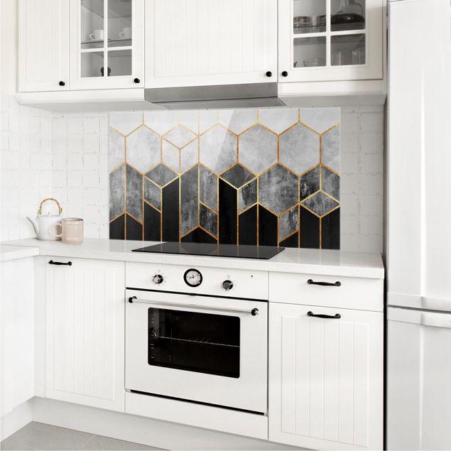 Spritzschutz Glas - Goldene Sechsecke Schwarz Weiß - Querformat 1:2