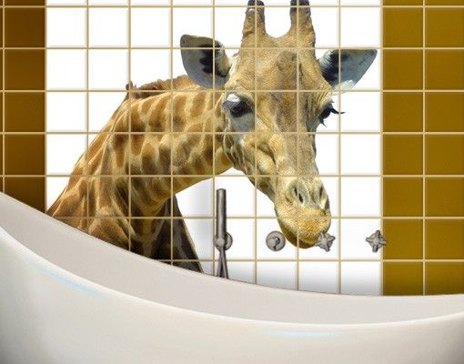 Fliesenbild - Neugierige Giraffe