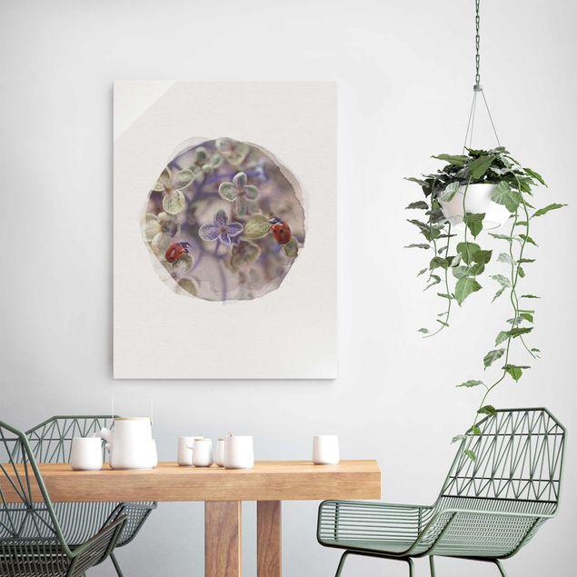 Glasbild - Wasserfarben - Marienkäfer im Garten - Hochformat 4:3